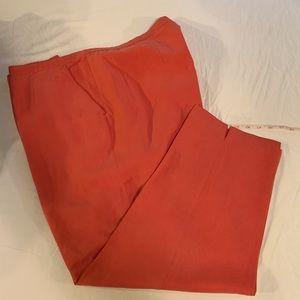 Beautiful salmon colored silk crop pants-plus size